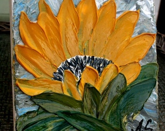 SALE Original Impasto Sunflower   Palette Knife Technique  Small Acrylic Painting.