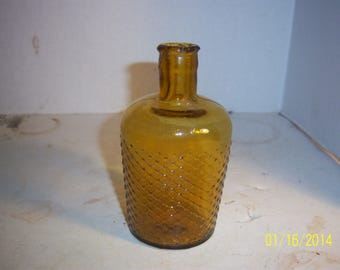 1900's Lysol  4 7/8 inch tall yellow amber Household Poison Bottle