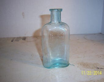 1890's CB Littlefield Contitutional Cough Syrup Manchester, NH 4 3/8 inch aqua medicine druggist pharmacy bottle