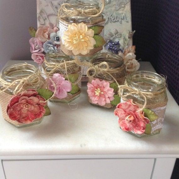 5 Jars, Altered Jars, Rustic Jars, Wedding, Centerpiece, Wedding Candle Holder, Tree Decor (outside), Garden Decor