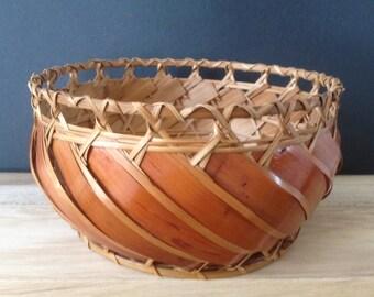 woven rattan planter basket