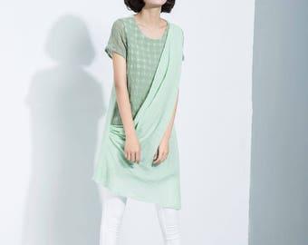 Mini dress, green linen dress , women's causal linen dress  C1120
