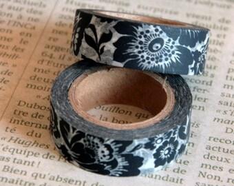 Masking tape, washi tape, adhesive tape black flowers 15mm x 10m 1 roll