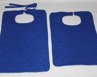 Adult Bibs/Clothing Protectors - 2 Styles to Choose From - Reversible - Terry Cloth/Cotton - Unisex Adult Bib -  Blue