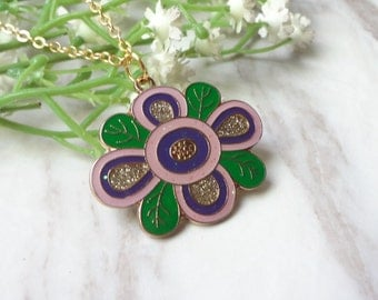 Gold Plated Cloisonne Enamel Purple Flower Pendant Necklace 0259