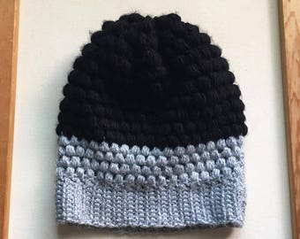THE MIDTOWN SLOUCHY // Crocheted Slouchy Hat // Black and Gray // Accessories // Handmade Knitwear