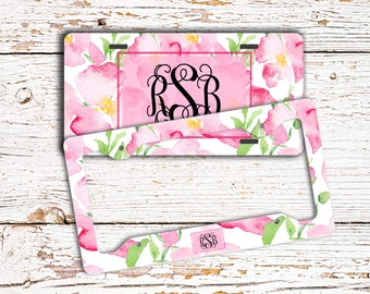 Monogrammed license plate or frame, Pretty pink floral car decor, Pink car accessories, Personalized gifts for her (1774)