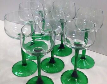 Vintage Wine Green Stemmed Luminarc France Goblets Glassware