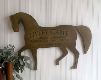 RESERVED FOR HEIDI - Vintage Wooden Horse Sign, Rustic Horse Sign, Farmhouse Horse Sign, Livery Stable Horse Sign, Rustic Home Decor
