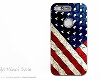 American Flag Google Pixel Tough Case - Patriotic Dual Layer Protection - Stars and Stripes - USA Flag Art Pixel Case by Da Vinci Case