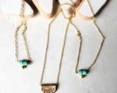 Turquoise and gold petite necklace