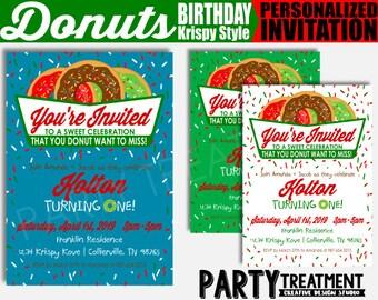 Donut Birthday Invitation, Personalized Digital Birthday Invitation