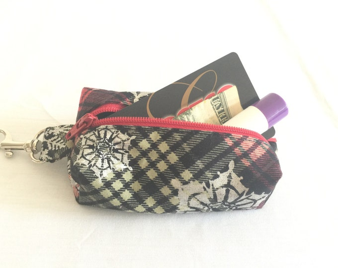 Zippered Keychain Pouch, Coin Purse, Card Holder, Tissue holder, Dog walking bag, Plaid