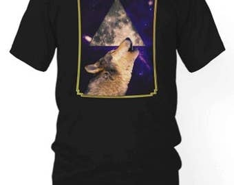 Hipster Howling Fantasy Tee | Wolf Triangle T-shirt