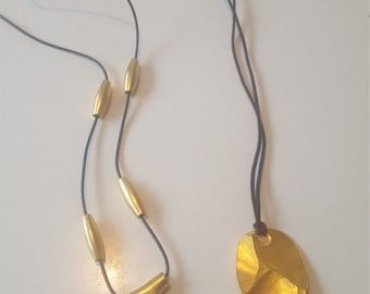 Goldtone and Leather Pendant Necklaces