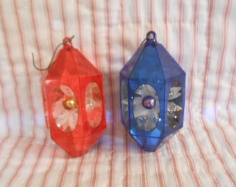 Vintage  Diorama Plastic Christmas Ornaments-Two