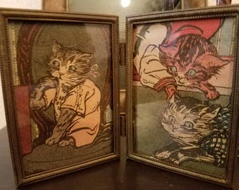 Small Sweet  Antique Double Frame with Cat Prints