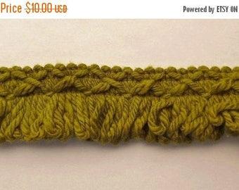 ON SALE Vintage, Loop, Brush, Trim, Edging, Green, Edging, 100% Cotton, 6.33 Yards, 1970's
