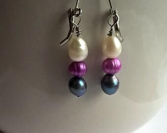 Dangle Lever Back Earrings: Dyed Freshwater Pearls- Green-Black, Magenta, Natural White