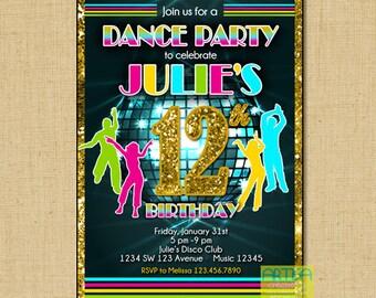Dance Party Birthday Invitation, Disco Birthday party, dancing invitation, disco ball invitation, dance party invitation, dance disco party