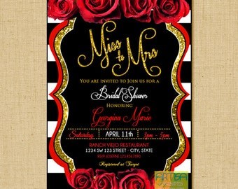 Miss to Mrs. Invitation, Miss to Mrs red gold black, red Roses Bridal Shower Invitation, Red Roses Gold Glitter and black ANY OCCASION