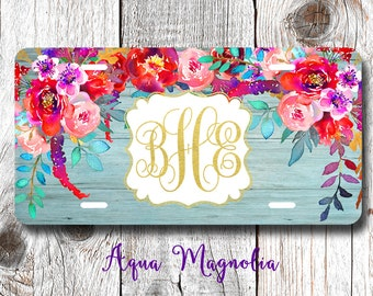 Watercolor Peony Flowers - Personalized License Plate - Watercolor Flowers - Car Tag - Monogrammed License Plate Frame