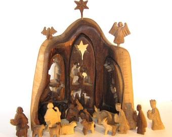 wooden nativity nativity set christmas creche carved nativity figurines wooden manger - Wooden Nativity Set