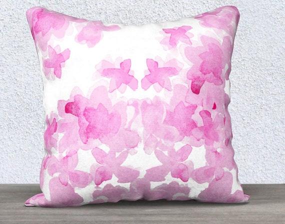 """Hot Pink Floral Pillow, 14""""x20"""", 18""""x18"""""""