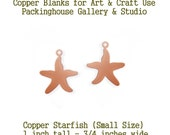Small Star Fish, Copper Metal Blanks, with Hole, copper for metalworking, enameling, etching, engraving, leatherworking and jewelry making