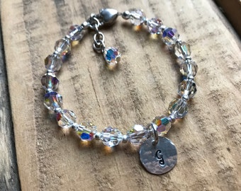 Personalized Crystal Girl's Bracelet with Monogram Charm