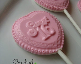 "12 ""Sweet 16"" White Chocolate Pink Heart Shaped Lollipop Favors Birthday Party Candy"