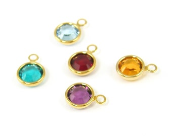 Add a Birthstone Charm, Birth Stone Crystal Charm, Birthstone Add On, Gold Bithstone Dangle |DRW2