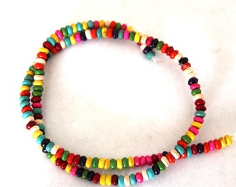 Full Strand of Mixed Color of 4 mm Rondell Beads