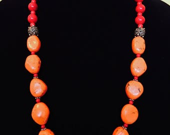 Brilliant Orange and Red Beaded Necklace