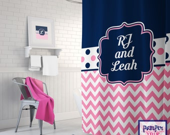 Navy and Pink Personalized Shower Curtain - Custom Shower Curtain - Custom Pink and Blue Shower Curtain
