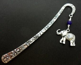 A hand made tibetan silver & purple jade bead elephant themed bookmark. New.