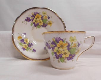 Pretty Pansey Cup & Saucer Rosina English Bone China Yellow and Purple Pansies Trimmed in Gold Flowers Inside Cup