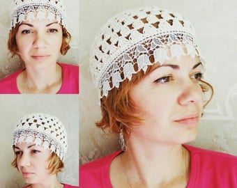 Cream summer beanie Cotton hat Women Summer Hats Sunhats Lace Skull Cap Chemo Hats Ecru Hats for women Cotton beanie Off white Crochet Hats