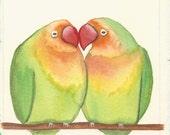 Original Painting - 'Two Little Lovebirds' miniature illustration