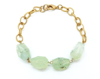 Gemstone Bracelet, Prehnite Bracelet, Chunky Bracelet, Raw Gemstone Bracelet, Prehnite Jewelry, Green Bracelet, Gold Chain Bracelet