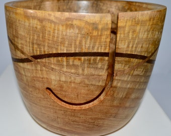 1108 Yarn bowl, made from Spalted Maple with a double wave of Black Walnut