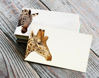 Printable Place Cards - Digital Tags - Vintage Flowers - Cute Stationery - Zebra - Giraffe