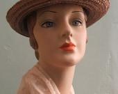 SALE - 25% OFF Vintage Straw Hat - Vintage Hat - Straw Hat - Woven Straw Hat - 1920s - 1950s