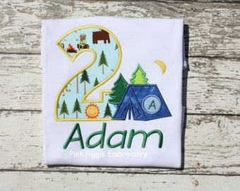 Camping Birthday Applique Shirt