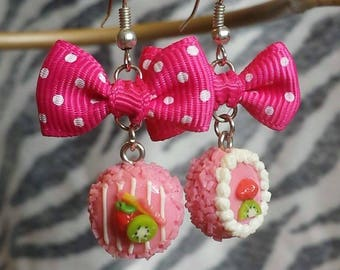 Strawberry Kiwi Cake Earrings