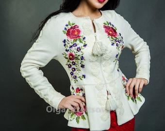 Womens jacket embroidered jakcet hand mebroidery floral emrboidery vyshyvanka ukrainian embroidery white jacket spring jacket floral jacket