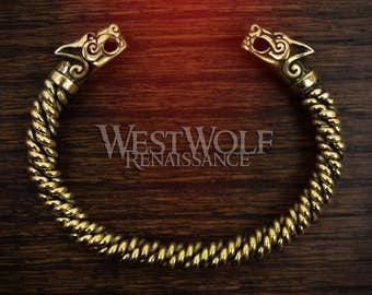 Viking Gold Fenrir Wolf Bracelet with Knitted Bangle -- Norse/Odin/Wolves/Knit/Torc/Medieval/Jewelry