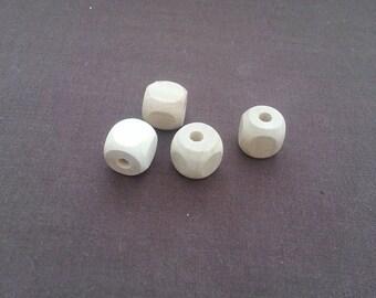 "Set of 20 1/2"" Wooden Square Beads 12mm Maple Hardwood"