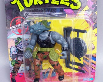 Vintage 1988 TMNT Soft Head Rocksteady Mint On Card C85 - Teenage Mutant Ninja Turtles