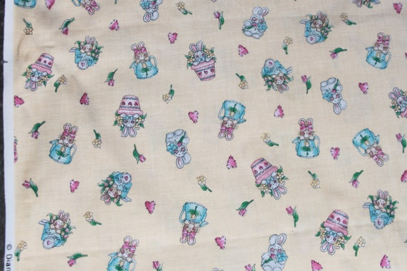 Vintage bunny rabbit cotton fabric by the yard pastel for Vintage childrens fabric by the yard
